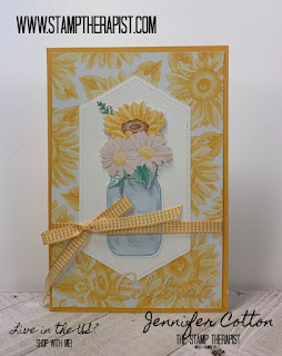 This card uses Stampin' Up!'s Flowers for Every Season Memories & More Card Pack and Cards & Envelopes along with the Jar of Flowers Bundle.  Supplies & Video on the blog (click the pic to go there).  #StampTherapist #StampinUp