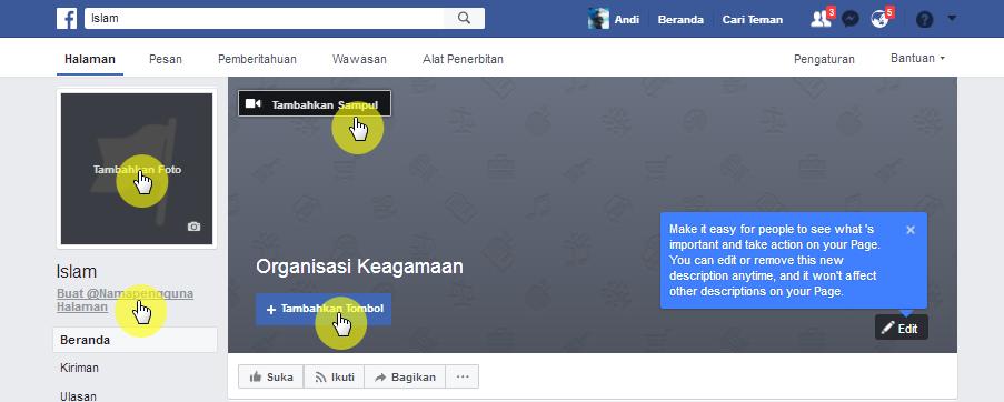 Cara Membuat halaman / fanspage facebook dengan mudah