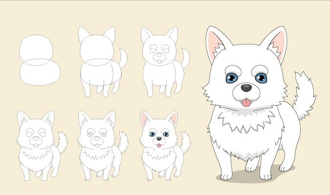 Gambar anjing anime selangkah demi selangkah