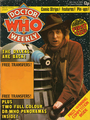 Doctor Who Weekly, Tom Baker and a dalek in front of a backdrop of stars