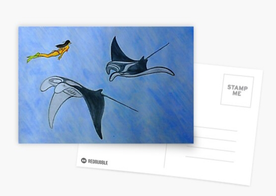 postcard with drawing of manta ray fish created by charles roring