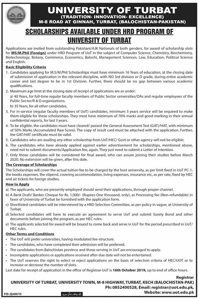 University Of Turbat Scholarship 2019