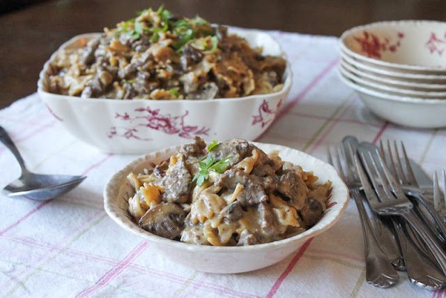 Food Lust People Love: This easy beef stroganoff pasta is a tasty one-pot meal, beefy and creamy with lots of mushrooms. It's cooked in an Instant Pot so it's on the table quickly without even firing up your stove.