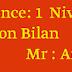 Projet: 3  Séquence: 1  Niveau : 3AM              Evaluation Bilan