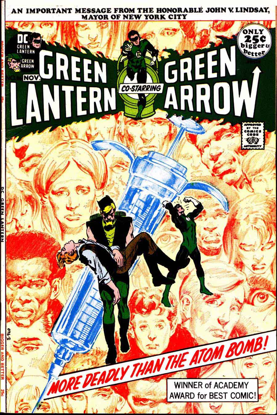 Green Lantern Green Arrow #86 dc comic book cover art by Neal Adams