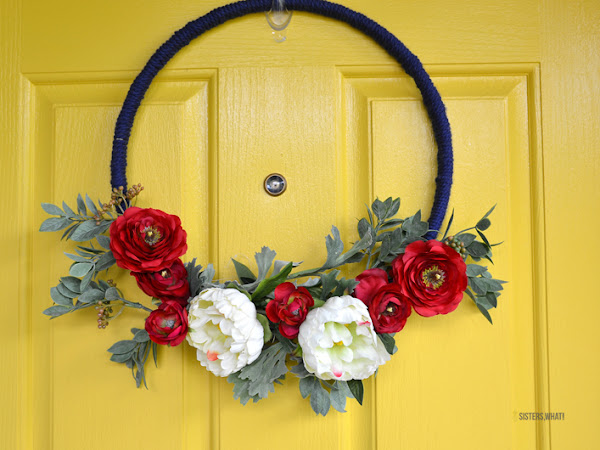 Modern 4th of July Floral Wreath