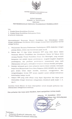 Surat Edaran Kemendikbud Nomor 14 Tahun 2019 Tentang Penyederhanaan RPP