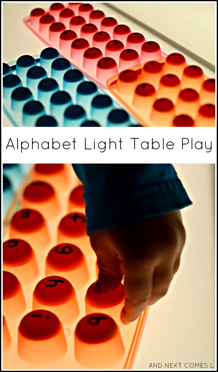 Fine motor alphabet activity for the light table from And Next Comes L