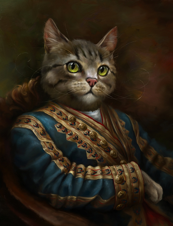 06-The-Hermitage-Court-Outrunner-Eldar-Zakirov-Digital-Art-Illustrations-of-Smartly-Dressed-Cats-www-designstack-co