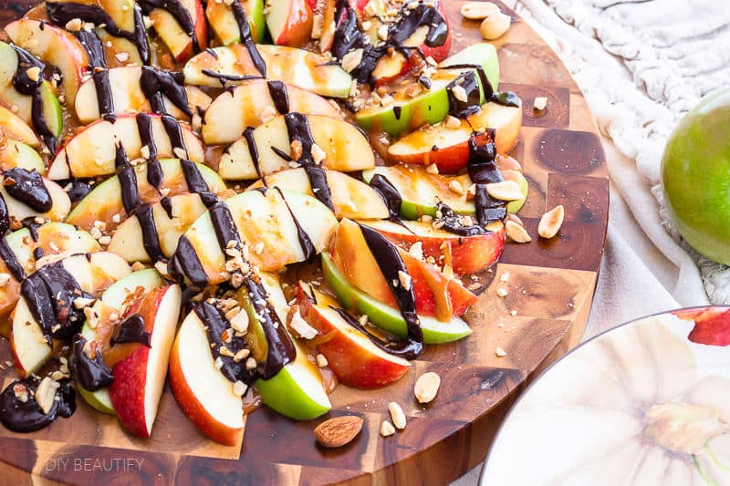 sweet and salty apple nachos with chocolate and caramel drizzle