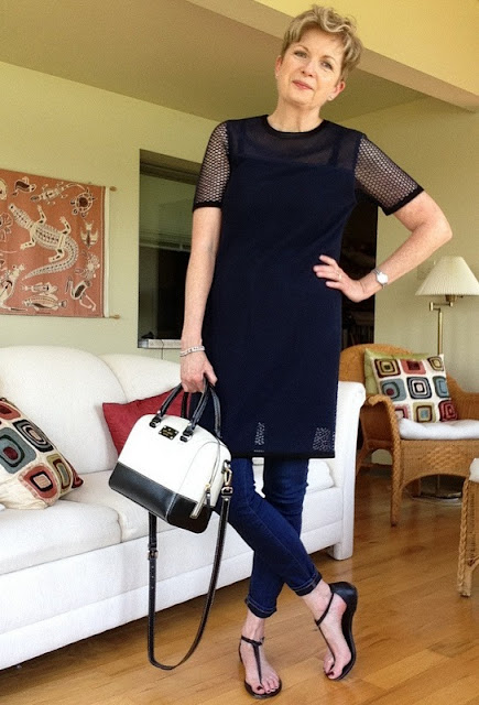 Rag and Bone dress over Paige high rise skinny jeans, with Michael Kors sandals, and Kate Spade bag