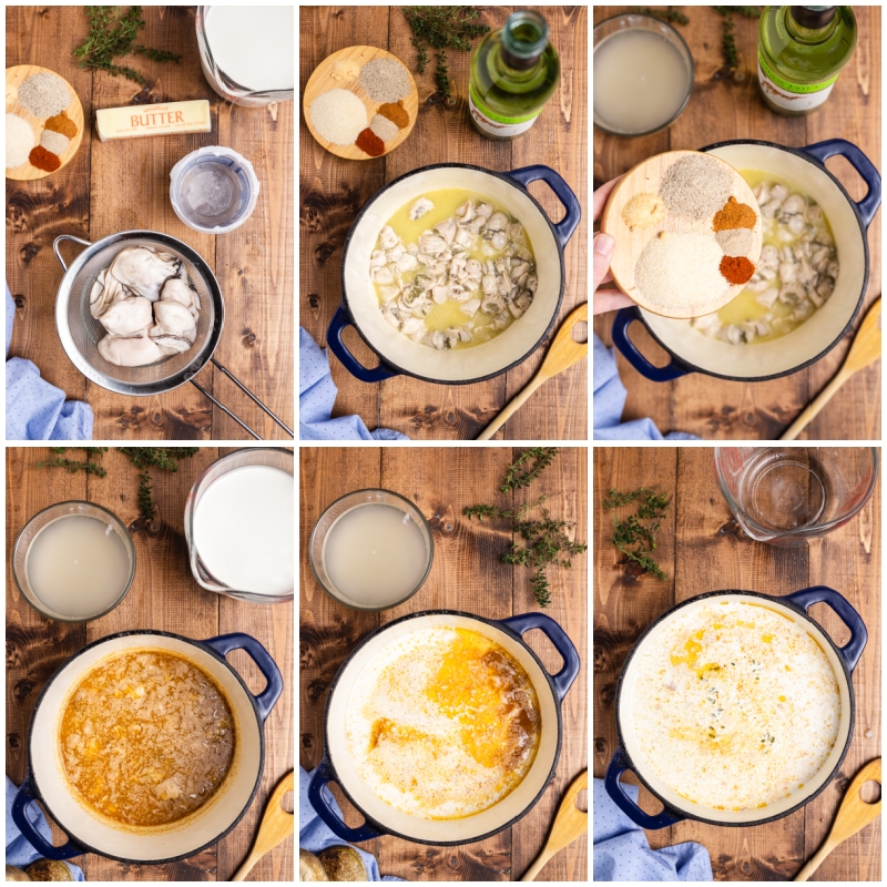 Six photos of the process of making Oyster Stew (Low Carb & Gluten-free).
