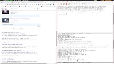Screenshot of my desktop with xmonad running: status bar at top, three windows open