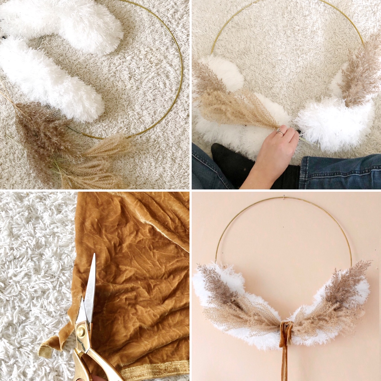 pampas grass christmas wreath easy diy
