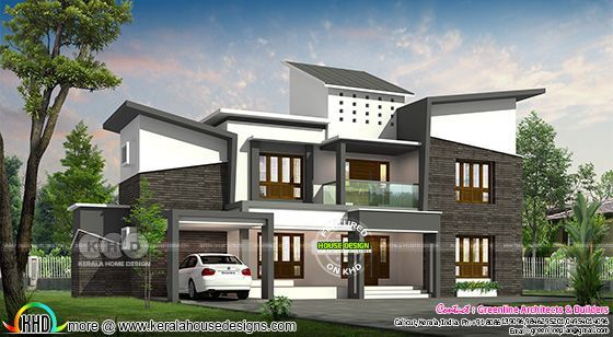 Slanting roof 5 BHK 3640 sq-ft contemporary house