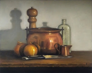 Still life oil painting of a copper pot, a knife, two onions, a small copper jug, a pepper grinder and an antique bottle.