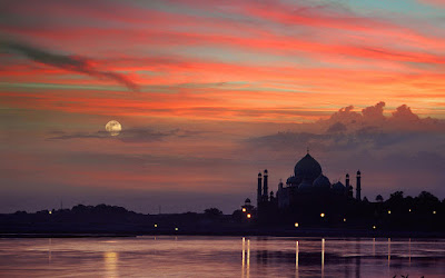 Taj Mahal Sunset Yamuna Agra India