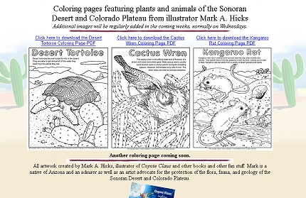Sonoran and Colorado Plateau Coloring Pages by Mark A. Hicks
