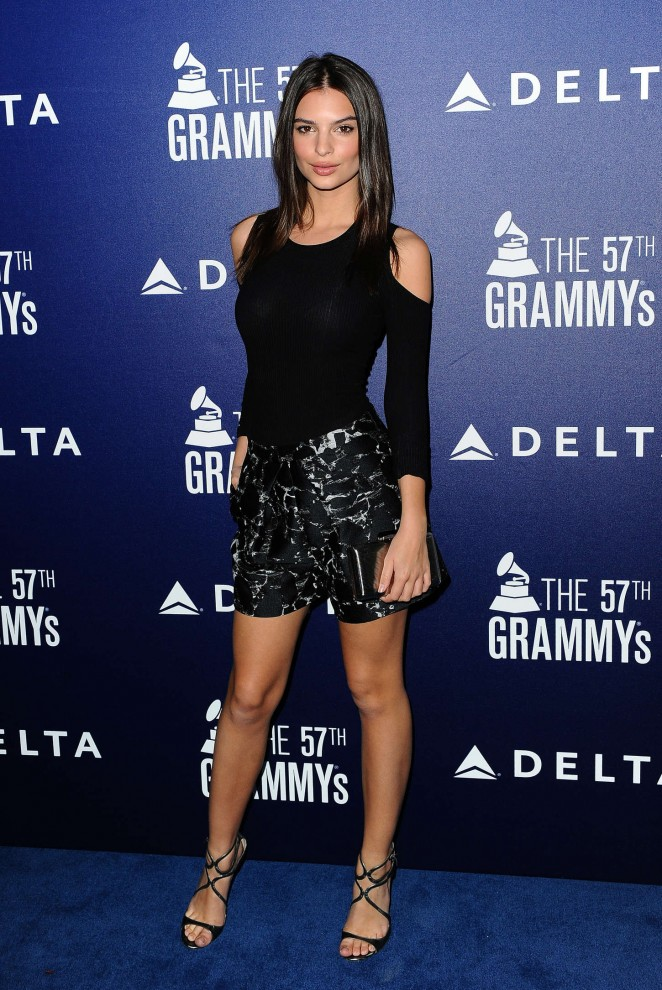 Emily Ratajkowski shows off legs in embroidered shorts at the 57th Annual Grammy Awards Event in West Hollywood