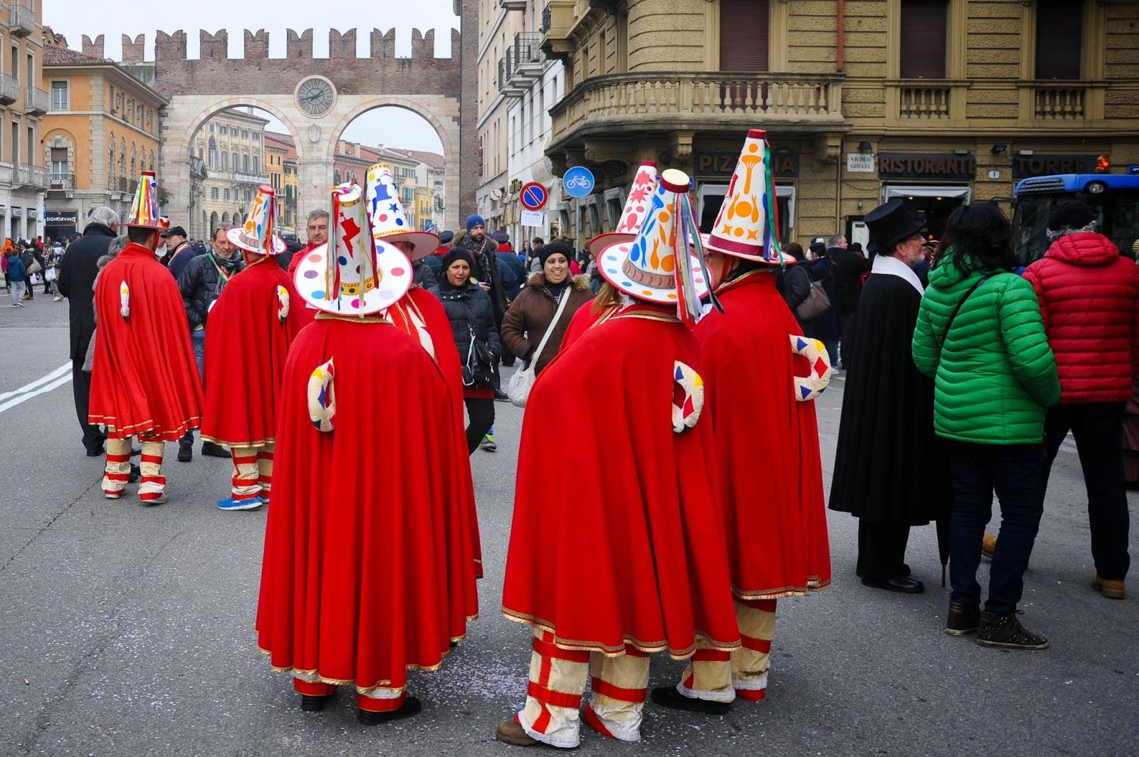The retinue of the Papa del Gnoco - called the Macaroni - at Verona Carnival