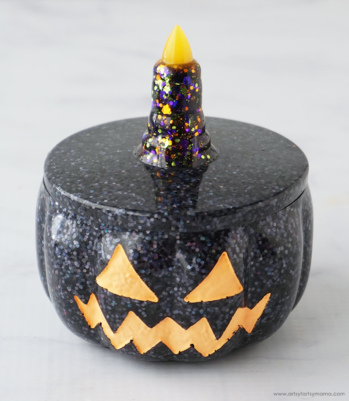 Resin Jack-O-Lantern Pumpkin Trinket Box