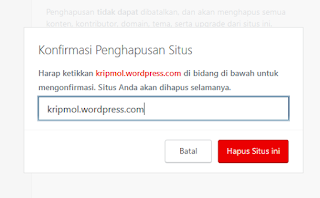 cara menghapus blog wordpress