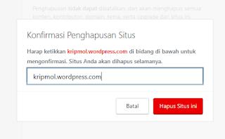 cara menghapus blog wordpress