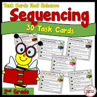30 Task Cards to Sequence Four Sentences in Order from Beginning to End