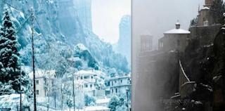 Μαγικές εικόνες Από τα χιονισμένα Μετέωρα – Στα Λευκά οι πέτρινοι «γίγαντες» του Θεσσαλικού κάμπου
