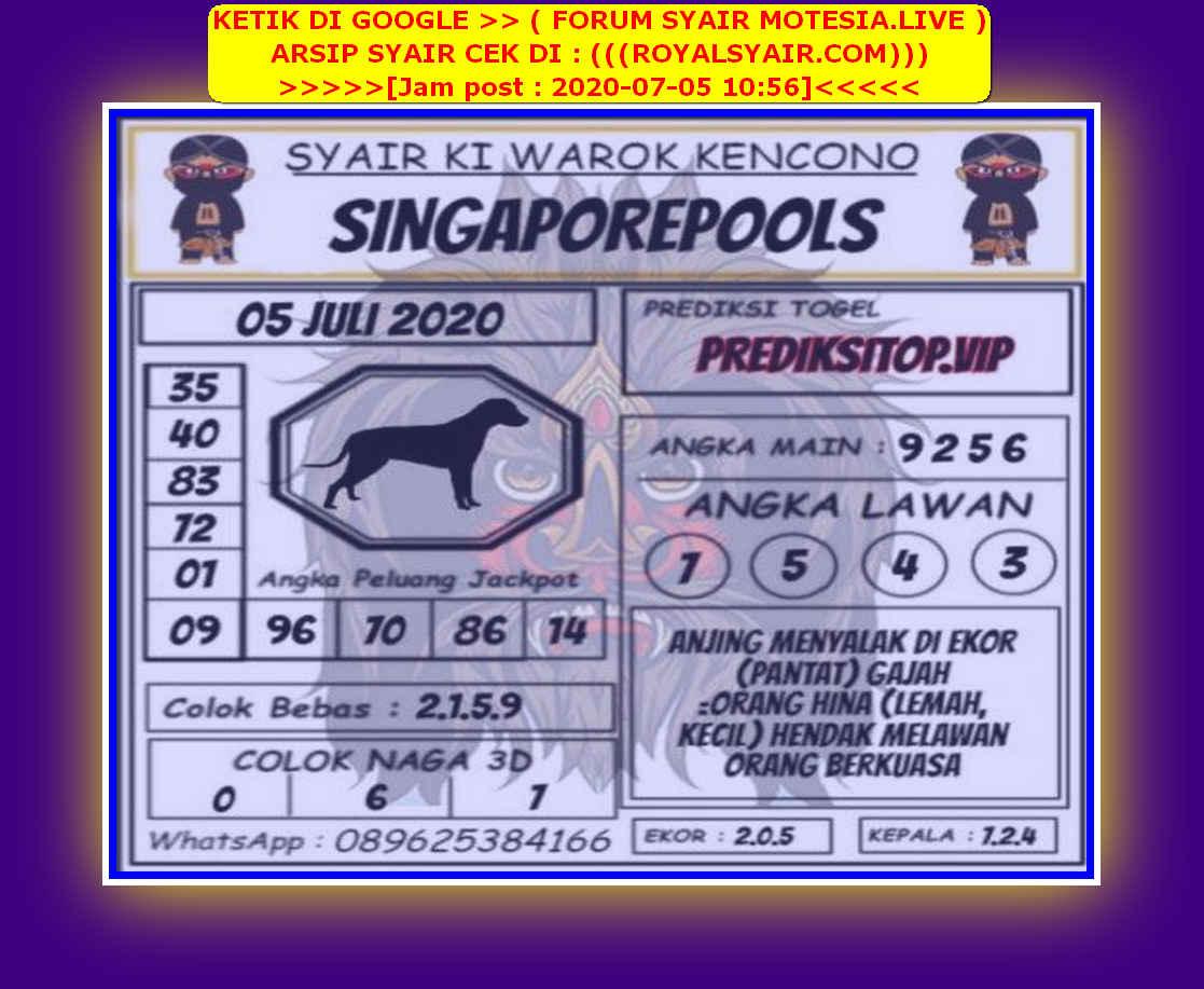 Kode syair Singapore Minggu 5 Juli 2020 123
