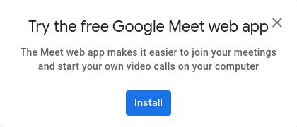 Imagen de la oferta para probar la aplicación web de GoogleMeet que aparece en la página de apertura de GoogleMeet