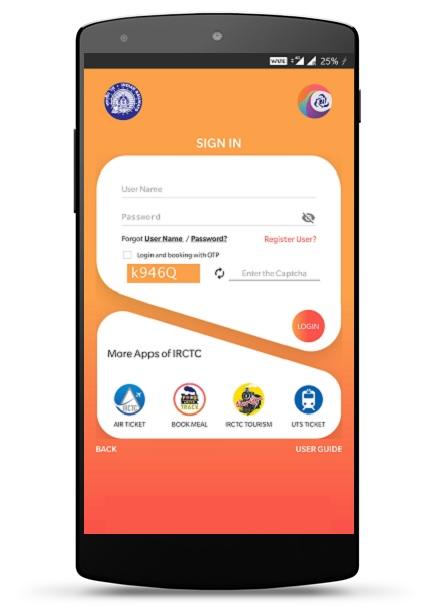 login to irctc rail connect app