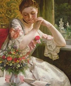 Подборка картин Дамы и цветы
