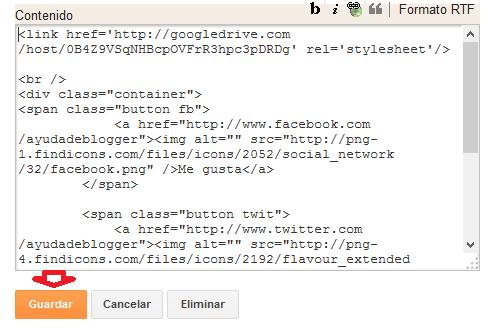 Widget de redes sociales para páginas web