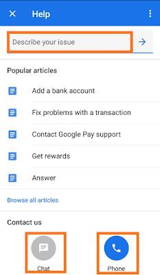 Google pay costomer service image