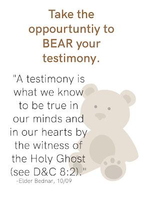Bear Testimony printable for YW camp.