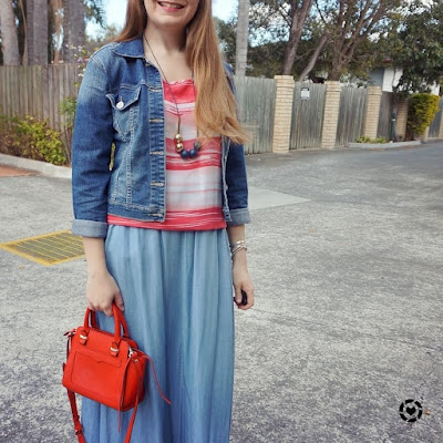 awayfromtheblue instagram double denim spring outfit chambray skirt jacket stripe tank and red Avery bag
