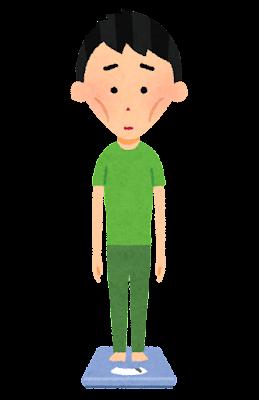 体重計に乗る人のイラスト(男性・痩身)