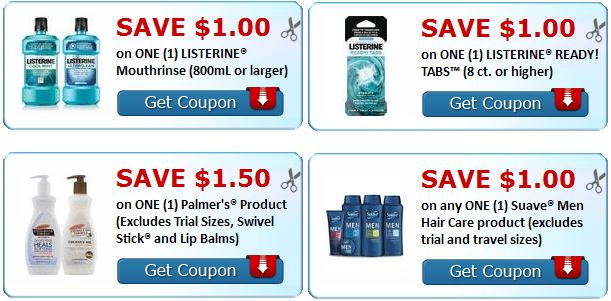new suave, listerine, palmers printable coupons