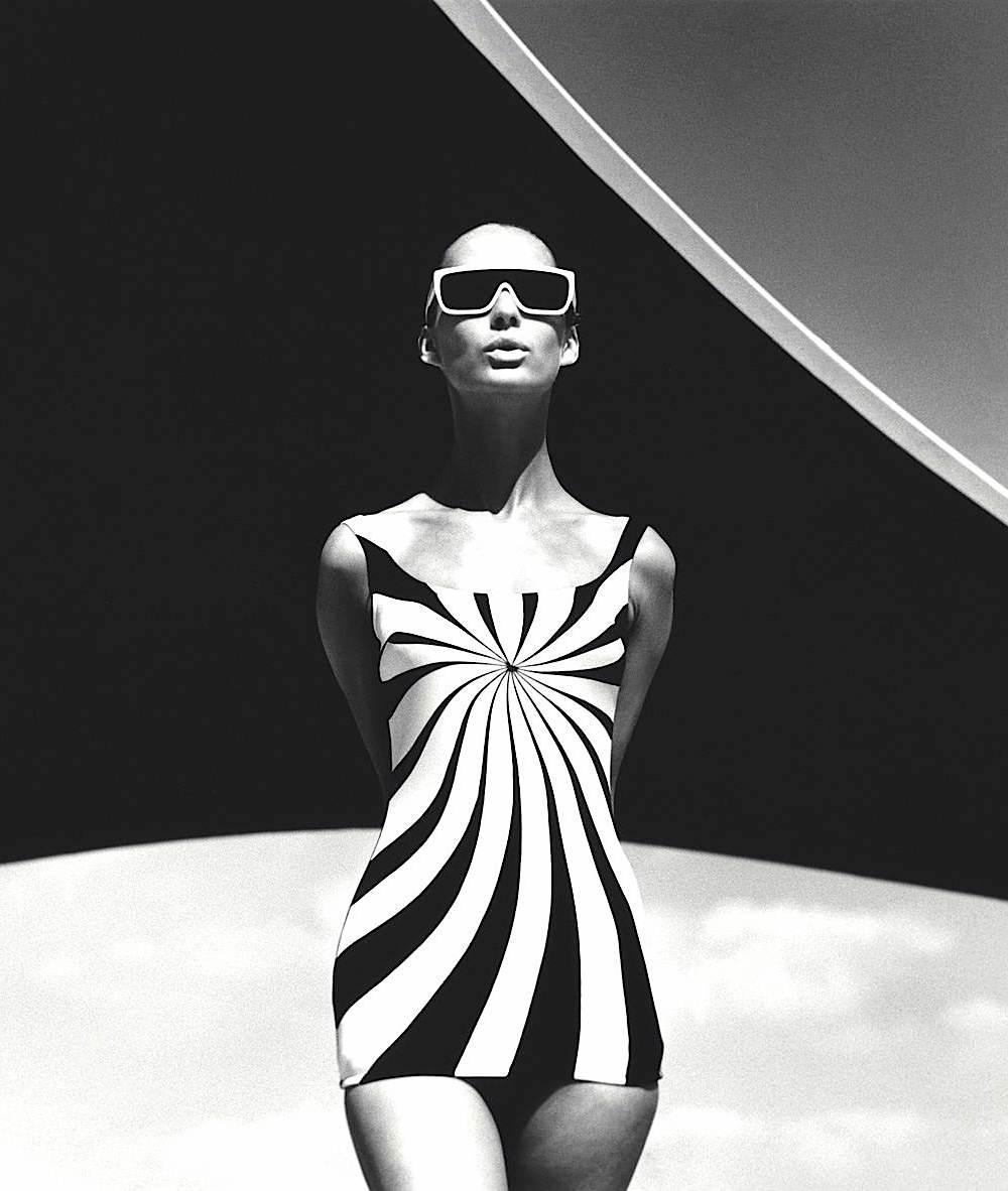 an F.C. Gundlach photo 1966, op-art sun swimsuit, 1966 fashion model