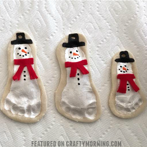 salt dough footprint snowmen