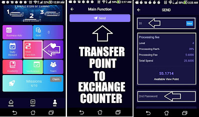 cara tranfer point vtube ke exchange counter
