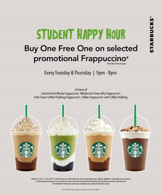 Starbucks Student Happy Hour Buy 1 Free 1 Frappuccino