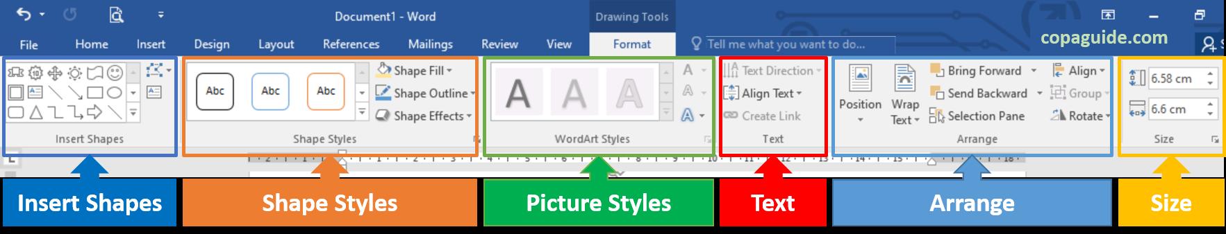 Using Drawing Tools to Edit Shapes in MS-Word Hindi Notes