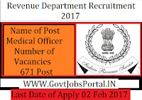 Revenue Department Recruitment 2017 for 671+ Medical Officer Posts