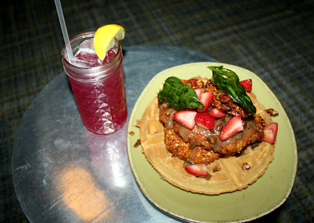 Chicken and waffles at Punch Bowl Social