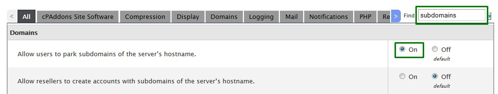 allow user to park subdomains
