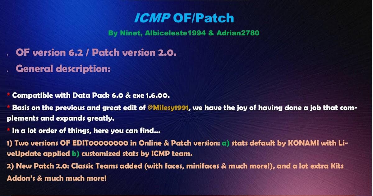 PES 2019 ICMP Patch 2 0 FIX 1 1 Season 2018/2019 [ Offline / Online