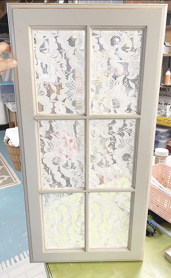 lace on white window