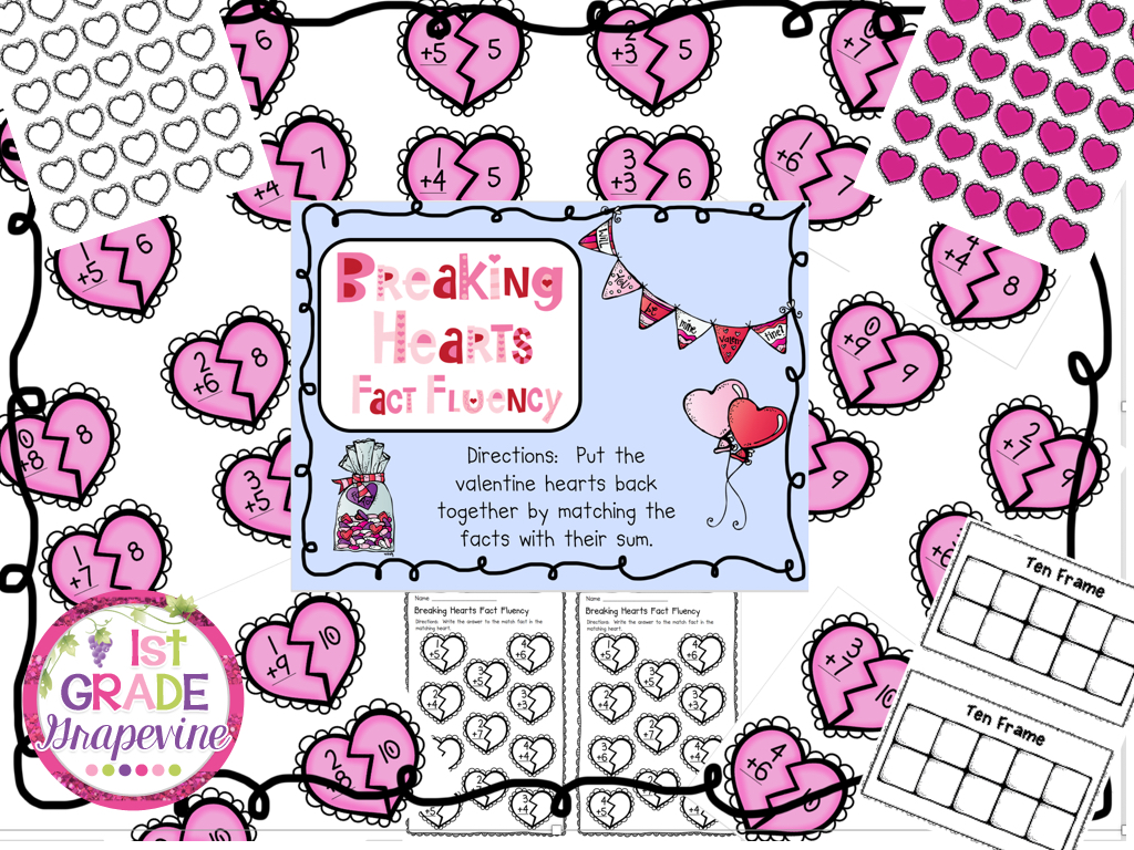 1st Grade G Vine Valentine S Day Math And Reading
